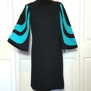 Trina Turk Ponte Knit Blue Bell Sleeve Dress